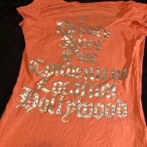 Troy orange tee shirt with print & gems on it